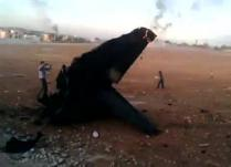 طائرة حربية من طراز ميغ  اسقطتها المعارضة السورية