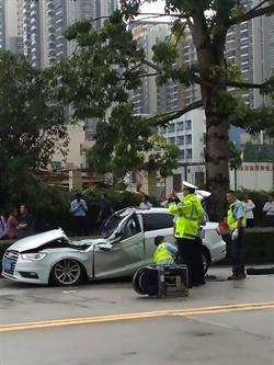 بالفيديو والصور.. سائق ينجو من الموت سحقاً بأعجوبة بعد سقوط ذراع رافعة ضخم على سيارته