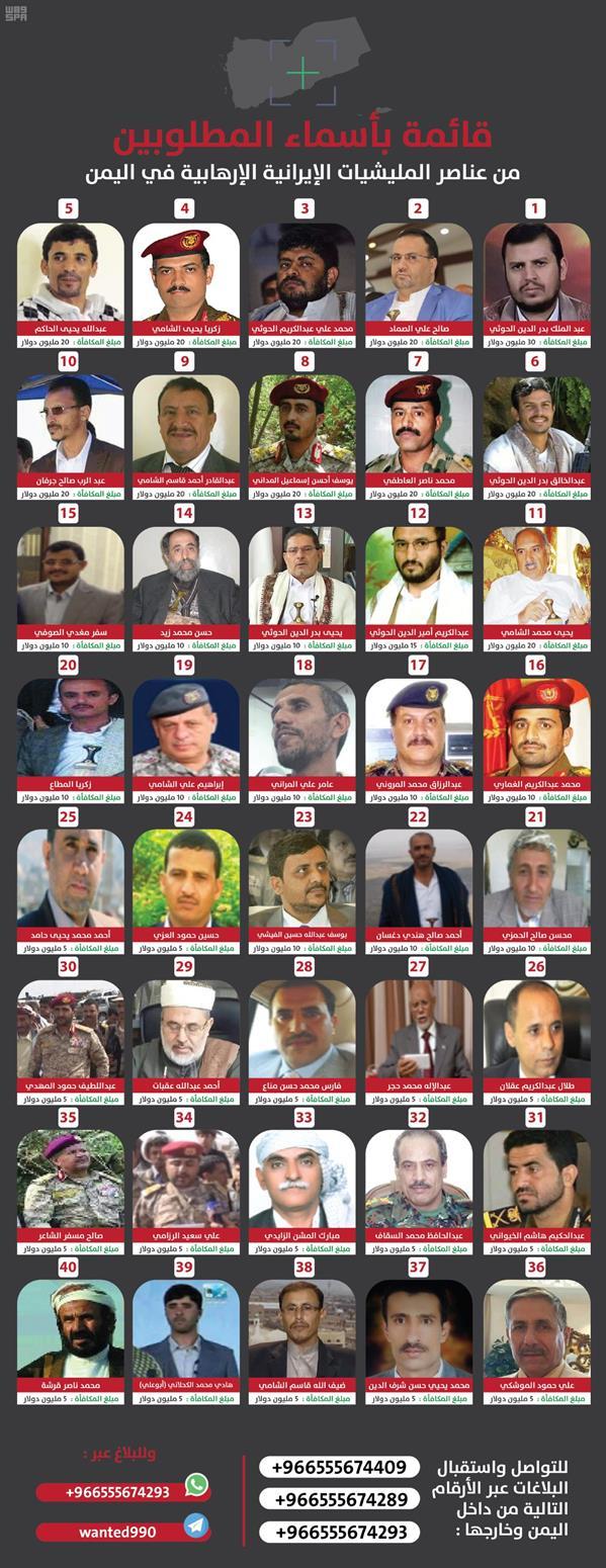 المملكة تحدد أرقاماً للإبلاغ عن قائمة الـ40 التي تضم قيادات وعناصر في جماعة الحوثي