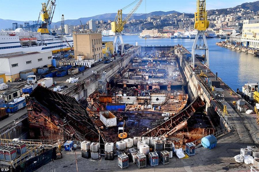 """بالصور.. تقطيع سفينة الأحلام الجانحة """"كوستا كونكورديا"""" وبيعها """"سكراب"""""""